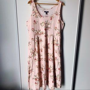 Chaps pink floral scoop neck summer dress XL